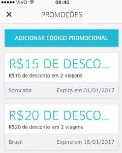 Uber dá até R$70,00 de desconto em Sorocaba